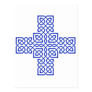 Blau des keltischen Kreuz-6 Postkarte