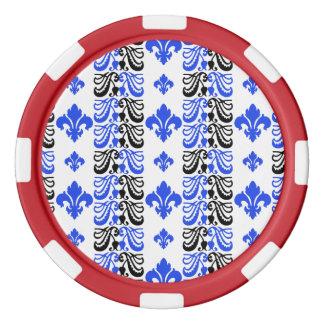 Blau Fleur Streifen-1a Poker Chip Set