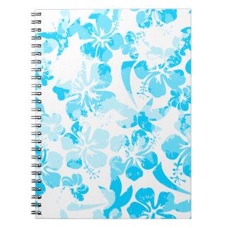 Blau gemaltes tropisches Blumen Spiral Notizblock