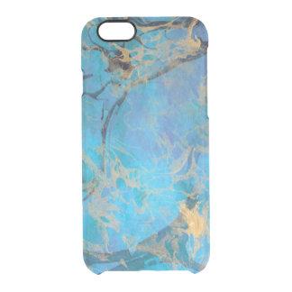 Blau/Gold gemalter Marmor Durchsichtige iPhone 6/6S Hülle