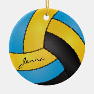 Blau, Goldgelber und schwarzer des Volleyball-| Keramik Ornament