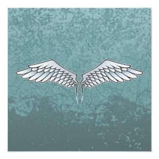 Blau-graue Flügel Quadratische 13,3 Cm Einladungskarte