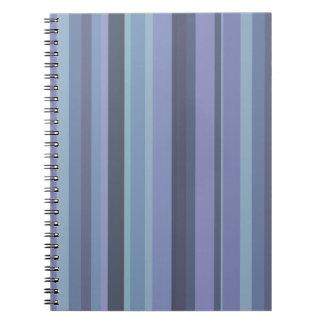Blau-graue horizontale Streifen Spiral Notizblock