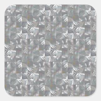 Blau-Graues Perlmuttfliesen-Muster Quadratischer Aufkleber