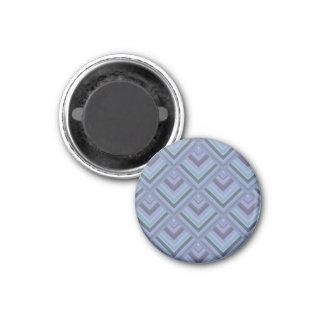 Blau-graues Streifenskalamuster Runder Magnet 3,2 Cm