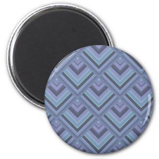 Blau-graues Streifenskalamuster Runder Magnet 5,7 Cm