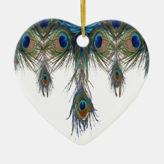Blau-grün-Pfau-Federkunst Keramik Ornament