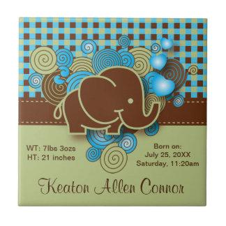 Blau, Grün u. karierter Baby-Elefant Browns Keramikfliese
