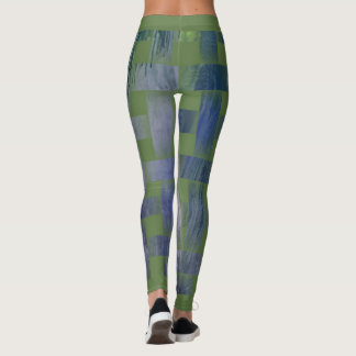 Blau-Grüne Leggings Weaving Design