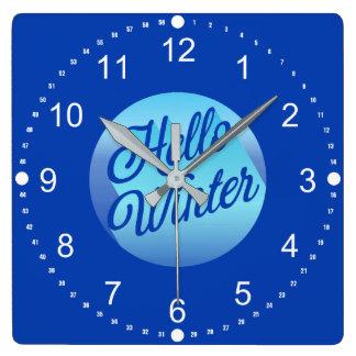 Blau-hallo Winter-Tupfen Quadratische Wanduhr
