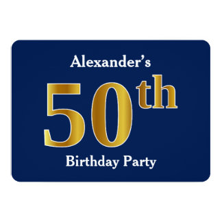 Blau, Imitat-Gold50. Geburtstags-Party + Karte