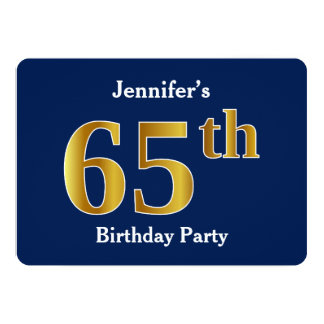 Blau, Imitat-Gold65. Geburtstags-Party + Karte