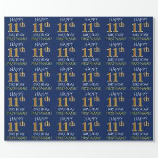 """Blau, Imitat-Gold """"GLÜCKLICHER 11. GEBURTSTAG """" Geschenkpapier"""