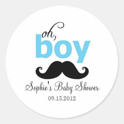 Blau ist es ein Jungen-Schnurrbart-Babyparty-Aufkl Runde Sticker