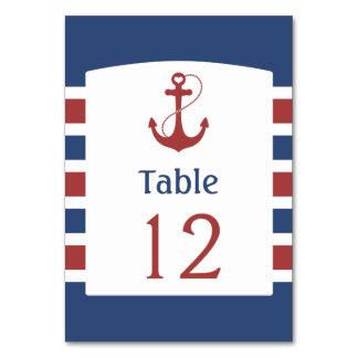 Blau mit roter Anker-Tischnummer Karte