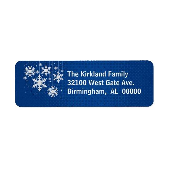 Blau mit Schneeflocke-Feiertags-Adressen-Etiketten