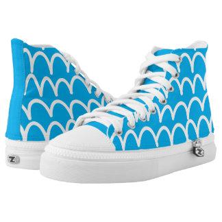 Blau mit weißen Gekritzeln Hoch-geschnittene Sneaker