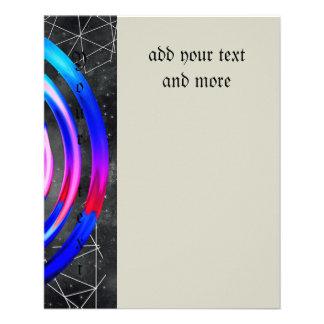 Blau, modern, abstrakt, Cyber, Kreis, trendy, 11,4 X 14,2 Cm Flyer