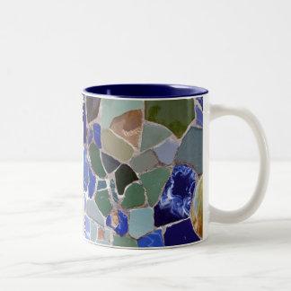 Blau-Mosaiken Antoni Gaudi Zweifarbige Tasse