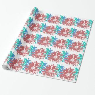 Blau, Rost und grüne Blumen Geschenkpapier