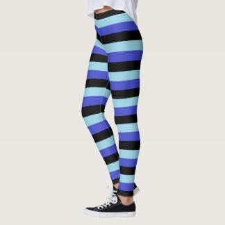 Blau-, Schwarze und blaue Pastellstreifen Leggings