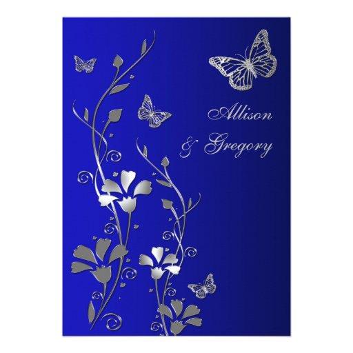 Blau, Silber-Blumenschmetterlinge, die Einladung