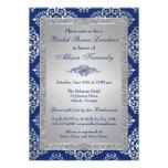 Blau, silbernes Glitter-Damast-Brautparty lädt ein Einladungskarten
