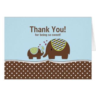 Blau u Brown-Elefant danken Ihnen Anmerkungs-Kart