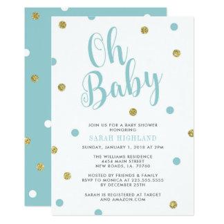 Blau-u. GoldGlitzer-oh Baby-Dusche Karte