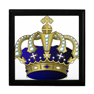 Blau-u. Goldkönigliche Krone Schmuckschachtel