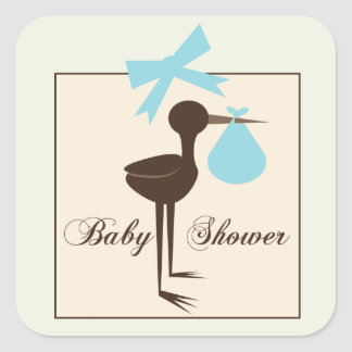 Blau u. hoch entwickelte Storch-Babyparty Browns Quadrat-Aufkleber