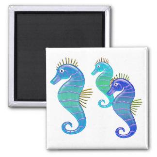 Blau-u. Lavendel-beflecktes Glas-Seepferd-Trio Kühlschrankmagnete