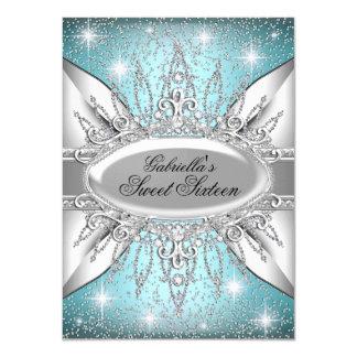 Blau-u. Silber-Schein-Diamant-Bonbon 16 laden ein 11,4 X 15,9 Cm Einladungskarte