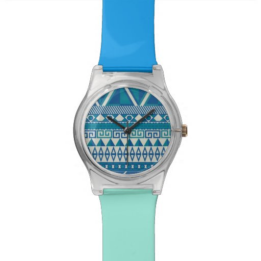Blau-u. Türkis-aztekisches Muster - RetroFlat Armbanduhr