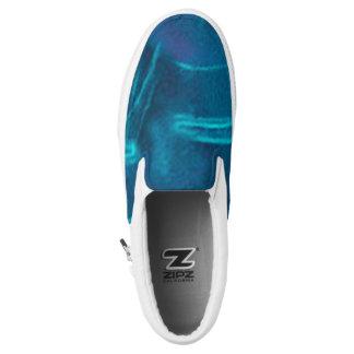 Blau u. Türkis Zipz Beleg auf Schuhen, Slip-On Sneaker
