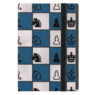 Blau u. Weiß gemarmortes Schach-Brett u. Stücke Hülle Fürs iPad Mini