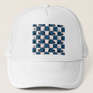 Blau u. Weiß gemarmortes Schach-Brett u. Stücke Truckerkappe