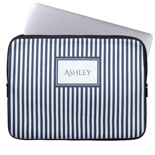 Blau u. Weiß Stripes Name-Laptop-Hülse Laptopschutzhülle