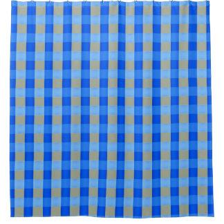 Blau-Überprüfter Duschvorhang