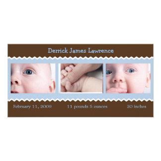Blau- und Brown-Babymitteilung Bildkarte