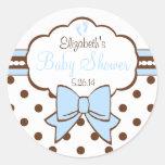 Blau und Brown-Polka Punkt-Baby Dusche Stickers