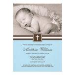 Blau und Brownquerjungen-Foto-Taufe Personalisierte Ankündigung
