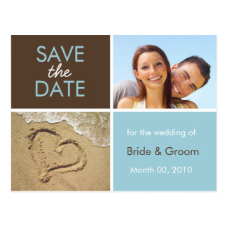 Blau und Foto-Postkarten Browns Save the Date Postkarte