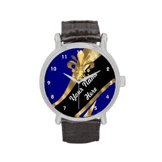 Blau und gold Fleur de Lys personalisiert Uhren