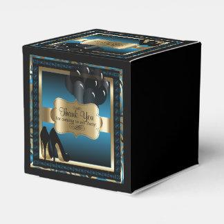 Blau und Gold metallisch - 50. Text des Geschenkschachtel
