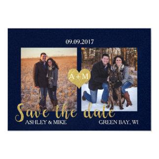 Blau und Gold Save the Date Karte