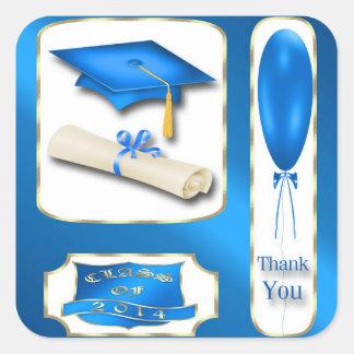 Blau-und GoldAbschluss danken Ihnen Umschlag Quadrataufkleber