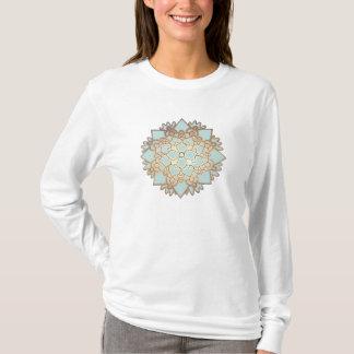 Blau-und Goldblühende Lotos-Blume T-Shirt