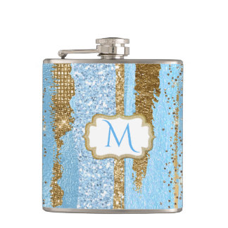Blau-und Goldextravagante mit Monogramm Flasche Flachmann