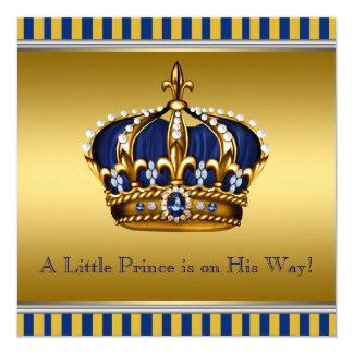 Blau-und Goldkönigliche Babyparty Quadratische 13,3 Cm Einladungskarte